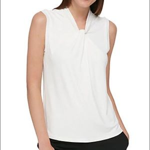 Tommy Hilfiger White Sleeveless Knot Top